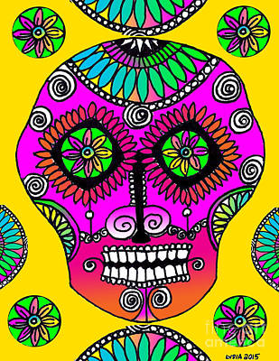 Drawing - Sugar Skull Amarillo by Lydia L Kramer