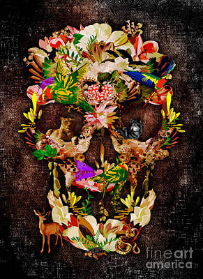 Haunted Mansion Digital Art - Sugar Skull Animal Kingdom by Lugu Poerawidjaja