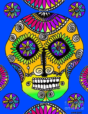Drawing - Sugar Skull Azul by Lydia L Kramer