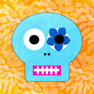 Sugar Skull Blue And Orange Print by Linda Woods