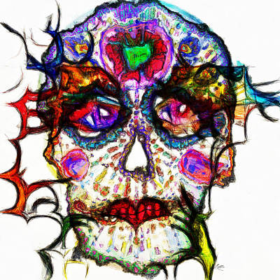 Up Up And Away - Sugar Skull Blues by Kiki Art