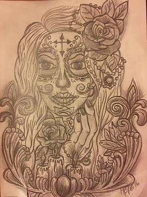 Sugar Skull Girl Drawing - Sugar Skull Gal by Megan Reppert