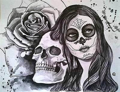 Rose And Skull Painting - Sugar Skull by Gilca Rivera
