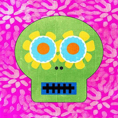 Sugar Skull Green And Pink Art Print by Linda Woods