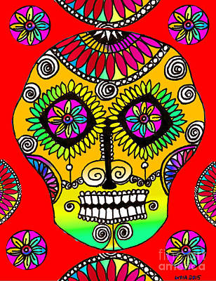 Drawing - Sugar Skull by Lydia L Kramer