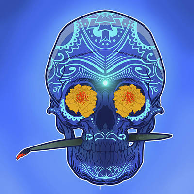 Trippy Digital Art - Sugar Skull by Nelson Dedos Garcia