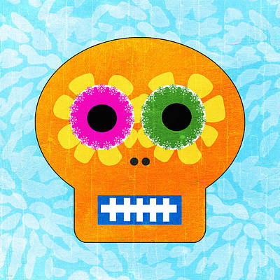 Sugar Skull Orange And Blue Print by Linda Woods