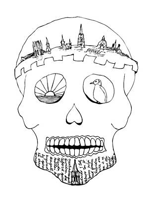 Drawing - Sugar Skull - Oxford Crown by Neringa Barmute