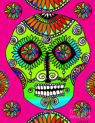 Drawing - Sugar Skull Rosa by Lydia L Kramer