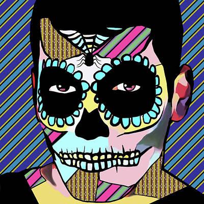 Digital Art - Sugar Skull Skeleton Guy Day Of The Dead Pop Art by Elizavella Bowers