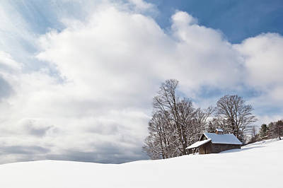 Photograph - Sugarhouse Winter Landscape by Alan L Graham