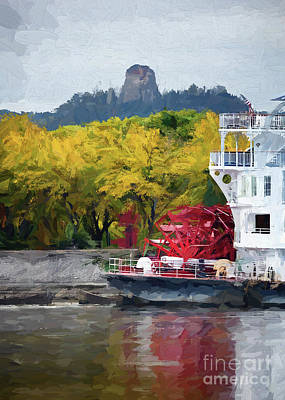 Photograph - Sugarloaf With Paddlewheeler Digital Painting by Kari Yearous