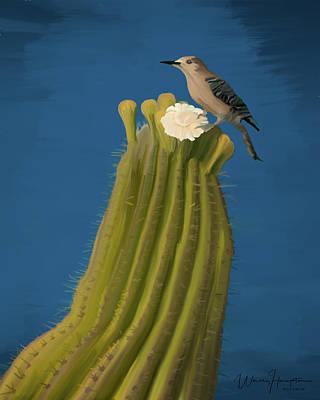 Sugaro Cactus And Cactus Wren Art Print by Wally Hampton