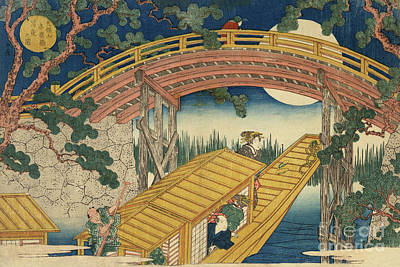 Painting - Suihiro Bridge In Moonlight by Utagawa Kunisada