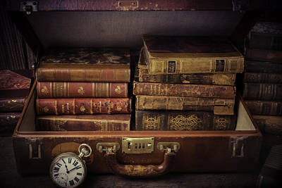Suitcase Full Of Books Art Print