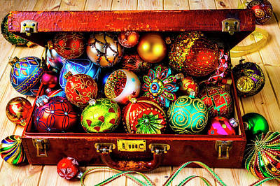 Photograph - Suitcase Full Of Christmas Ornaments by Garry Gay