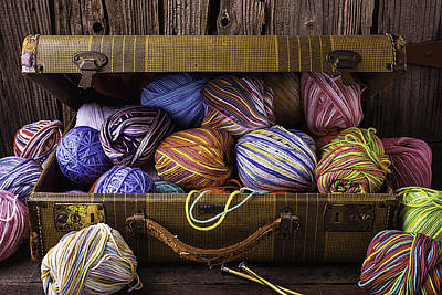Crochet Thread Photograph - Suitcase Full Of Yarn by Garry Gay