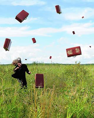 Suitcase Rain Print by Roman Rodionov