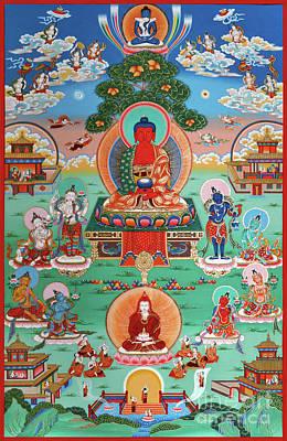 Painting - Sukhavati Pure Land Of Buddha Amitabha by Sergey Noskov