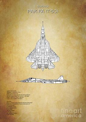 T50 Digital Art - Sukhoi Pak Fa T-50 by J Biggadike