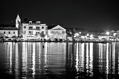 Photograph - Sukosan Adriatic Village Evening Black And White View, by Brch Photography