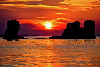 Photograph - Sukosan Old Ruin On The Sea Sunset View, by Brch Photography