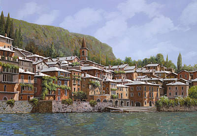 Curated Round Beach Towels - Sul Lago di Como by Guido Borelli