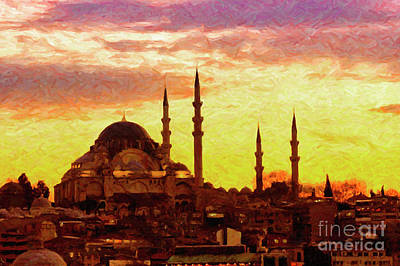 Digital Art - Suleiman Mosque Digital Painting by Antony McAulay