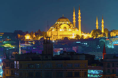 Photograph - Suleymaniye Mosque At Istanbul Night  by Marek Poplawski