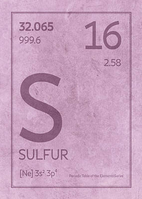 Periodic Table Wall Art - Mixed Media - Sulfur Element Symbol Periodic Table Series 016 by Design Turnpike