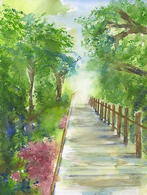 Painting - Sullivan's Island Boardwalk Watercolor Painting by Frank Bright
