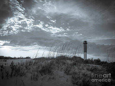 Sullivans Island Sc Photograph - Sullivan's Island Lighthouse In Black And White 3 by Dale Powell