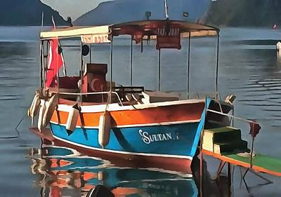 Painting - Sultan Taxi Boat Marmaris by Tracey Harrington-Simpson