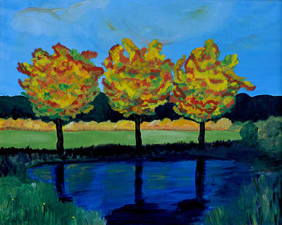 Painting - Sumac Trees In Fall by Haleh Mahbod