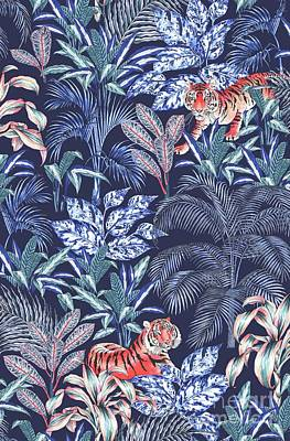 Palm Drawing - Sumatran Tiger, Blue by Jacqueline Colley