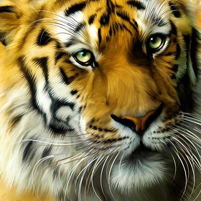 Tiger Digital Art - Sumatran Tiger Closeup Portrait by Julie L Hoddinott