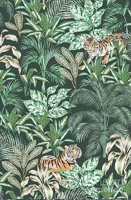 Stripe Drawing - Sumatran Tiger, Green by Jacqueline Colley