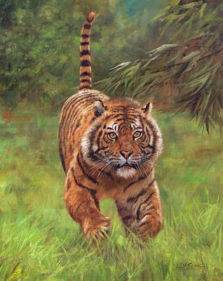 Tiger Painting - Sumatran Tiger Running by David Stribbling