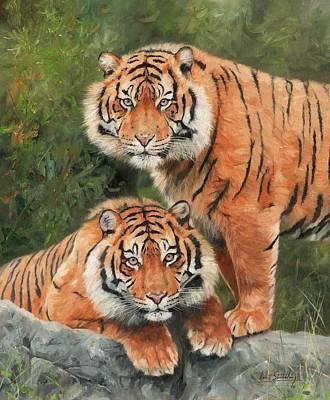 Wildlife Art Painting - Sumatran Tigers by David Stribbling