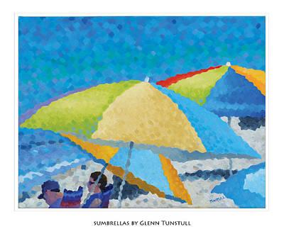 Painting - Sumbrellas Poster by Glenn Tunstull