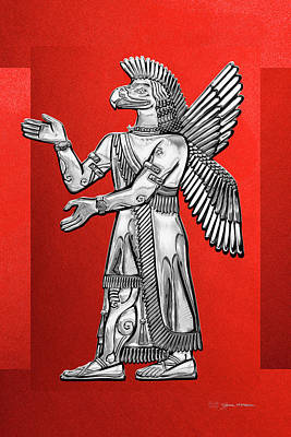Digital Art - Sumerian Deities - Silver God Ninurta Over Red Canvas by Serge Averbukh