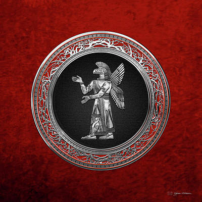 Digital Art - Sumerian Deities - Silver God Ninurta Over Red Velvet by Serge Averbukh
