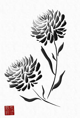 Painting - Sumi-e - Chrysanthemum - One by Lori Grimmett