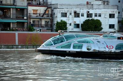 Photograph - Sumida River Cruise Boat In Motion Tokyo Japan  by Imran Ahmed