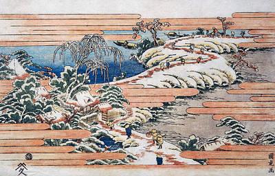 Cold Lake Drawing - Sumidagawa Under Snow by Utagawa Kunitora