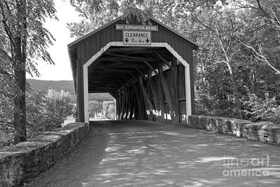 Photograph - Summer Afternoon At The New Germantown Covered Bridge Black And White by Adam Jewell
