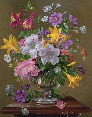 Flora Painting - Summer Arrangement In A Glass Vase by Albert Williams