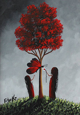 Fantasy Tree Art Painting - Red And Grey Surreal Art by Shawna Erback
