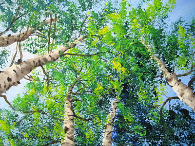 Aerial Perspective Painting - Summer Aspen by Corynne Hilbert