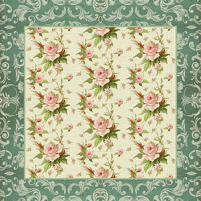 Painting - Summer At Cape May - Aged Modern Roses Pattern by Audrey Jeanne Roberts